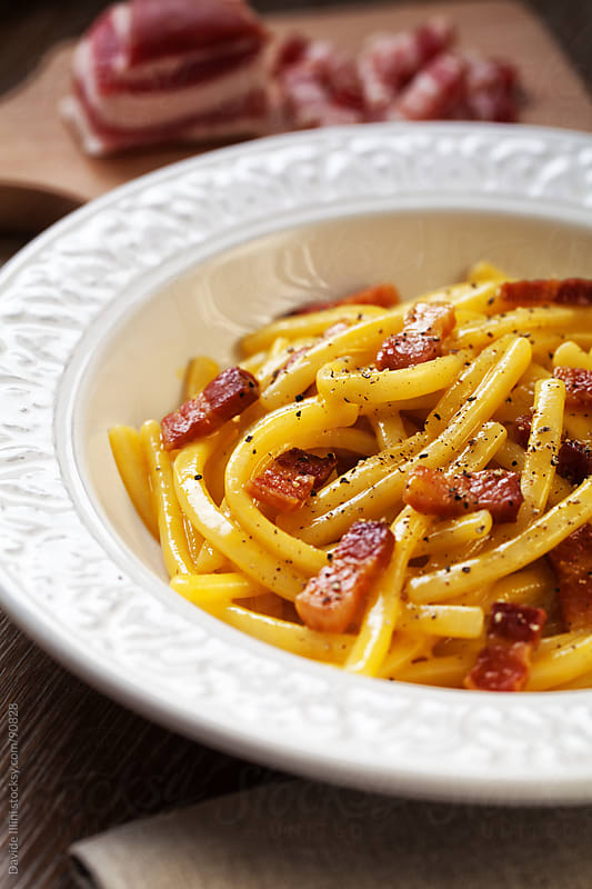 Spaghetti Carbonara by Davide Illini for Stocksy United