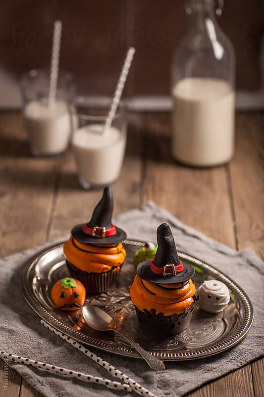Halloween Cookies With Milk by Mosuno for Stocksy United