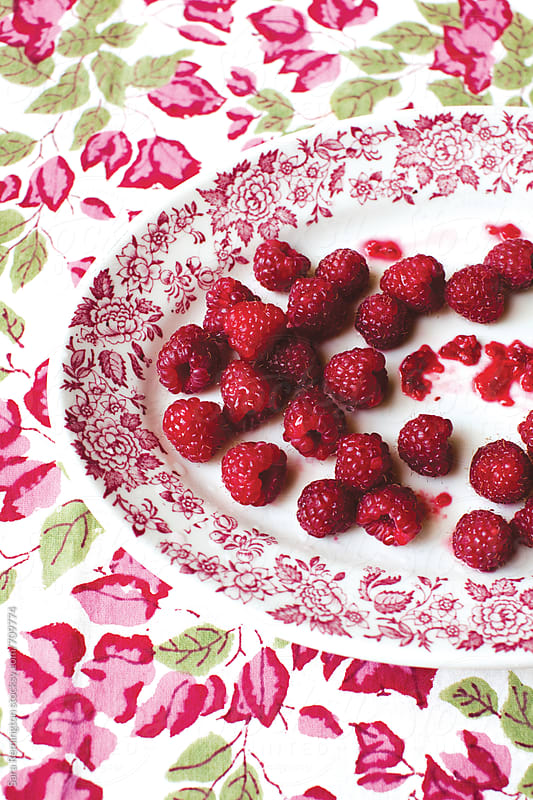 Organic Raspberries on Platter by Sara Remington for Stocksy United