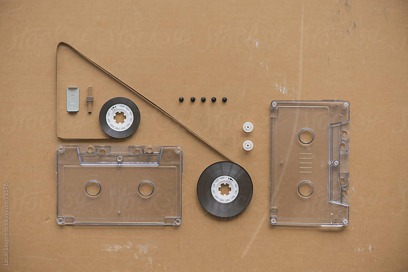 Cassette Tape and Parts Knolled by Lucas Saugen for Stocksy United