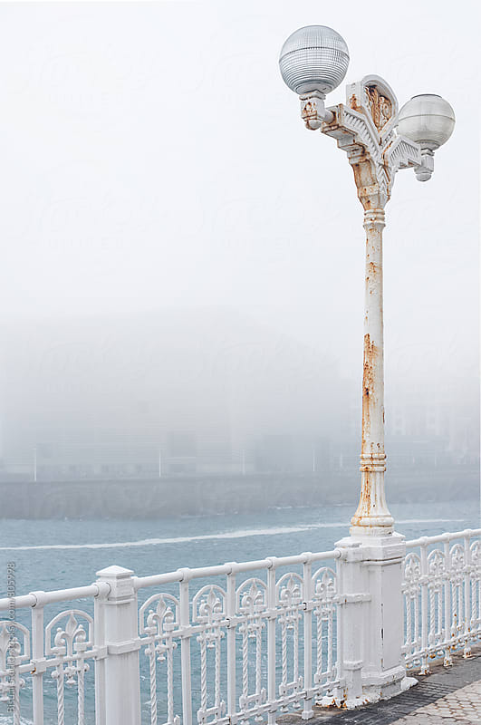 Old classic lamppost in San Sebastian promenade by Bisual Studio for Stocksy United