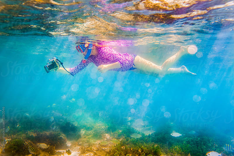 Little Girl Snorkeling On Tropical Reef In Cuba Caribbean Island by JP Danko for Stocksy United
