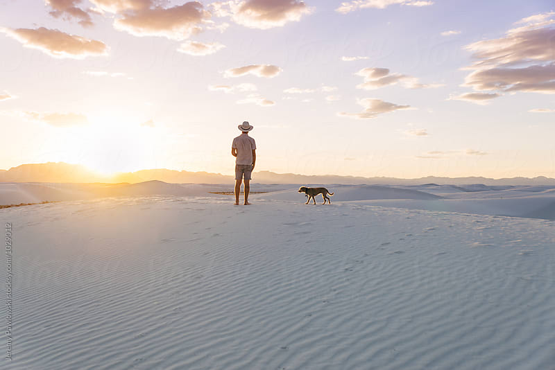 Young man and dog standing on sand dune during sunset by Jeremy Pawlowski for Stocksy United