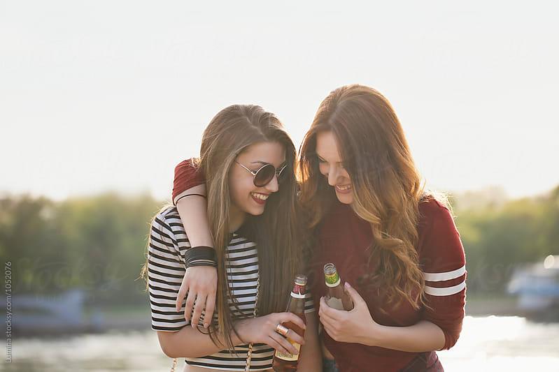 Girls Hugging by Lumina for Stocksy United