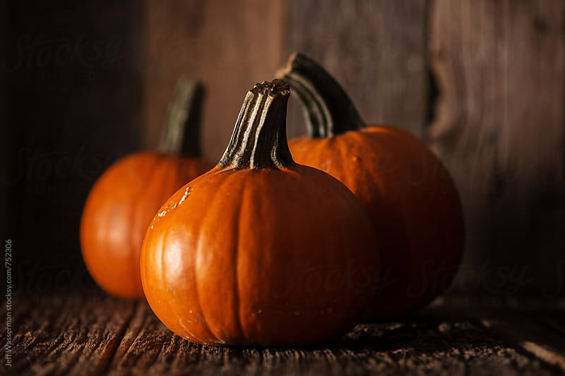 Small Pumpkins on Rustic Wood by Jeff Wasserman for Stocksy United