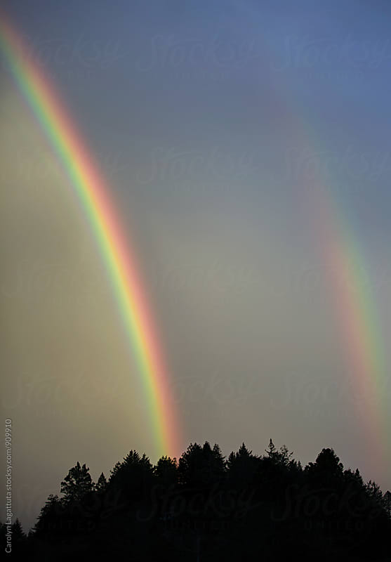 Beautiful double rainbow on a stormy day by Carolyn Lagattuta for Stocksy United