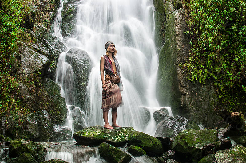 Woman by a Waterfall by Lumina for Stocksy United
