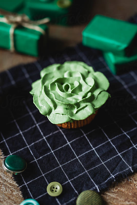 Green cupcake for Saint Patrick's Day by Tatjana Zlatkovic for Stocksy United