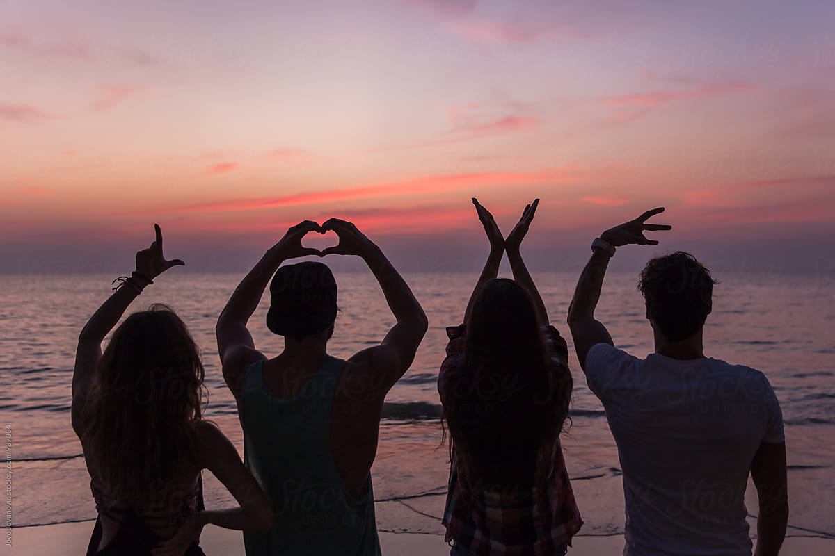 Four friends making a LOVE sign with their hands <3 by Jovo ...