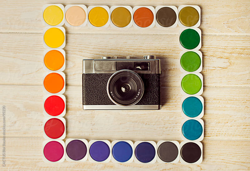 Old camera with multicolored frame by CACTUS Blai Baules for Stocksy United