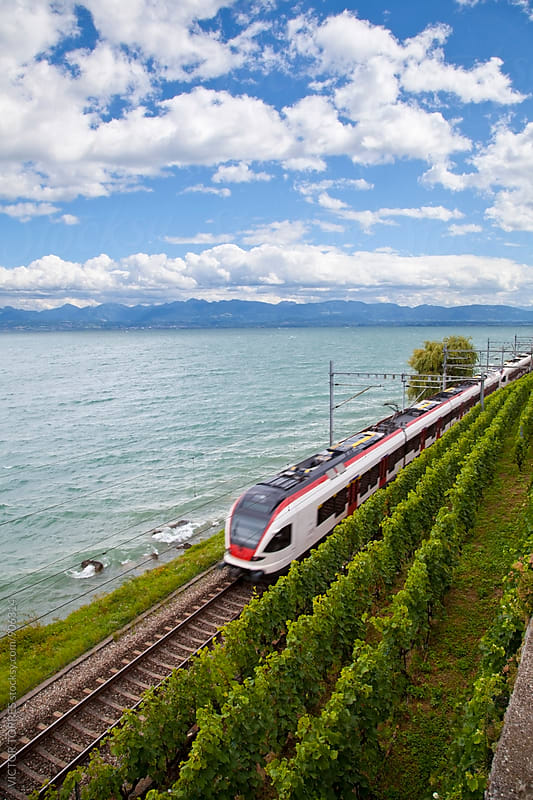 Speed Train in Lake Geneva, Switzerland by VICTOR TORRES for Stocksy United