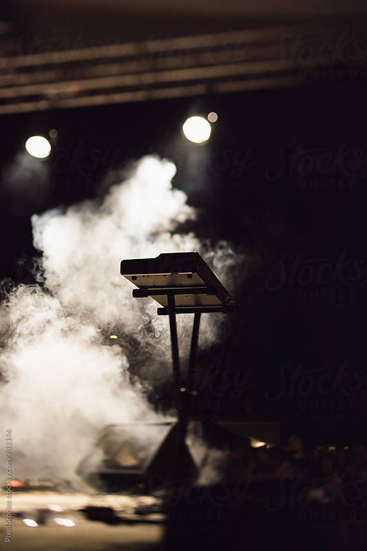 Electronic keyboard on stage by Pixel Stories for Stocksy United