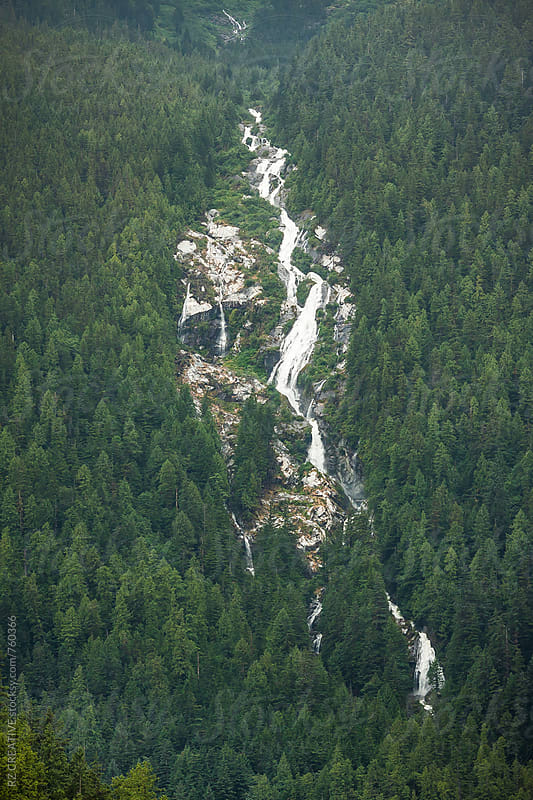 Large waterfall and landscape in British Columbia, Canada's Great Bear Rainforest. by Robert Zaleski for Stocksy United