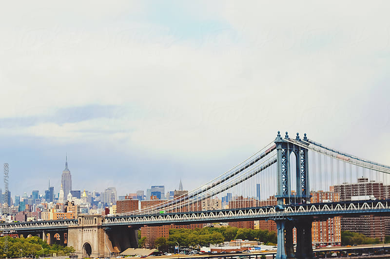 The View of the Manhattan skyline and George Washington bridge from Brooklyn by Chelsea Victoria for Stocksy United