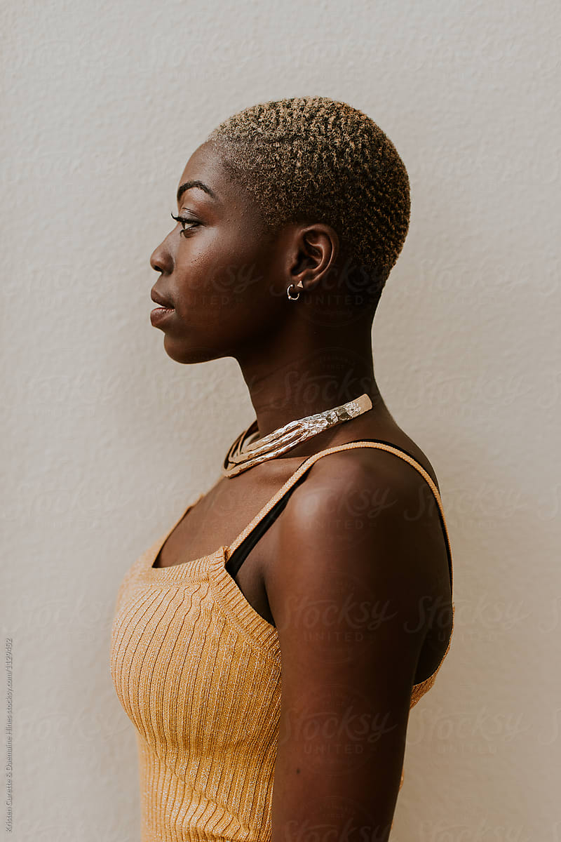 Side profile portrait of a beautiful black woman. by
