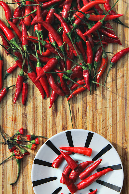 Red Chili Pepper Cooking Preparation by Kurt Heim for Stocksy United
