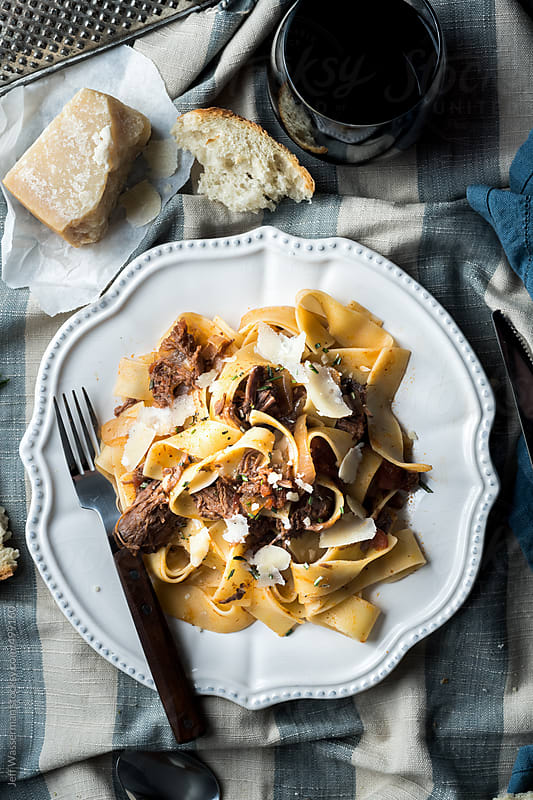 Slow Cooked Beef Ragu on Pappardelle Pasta by Studio Six for Stocksy United