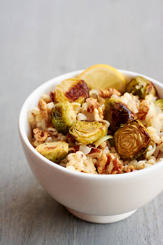 Lemony Wheat Berries with Brussels Sprouts and Walnuts by Harald Walker for Stocksy United