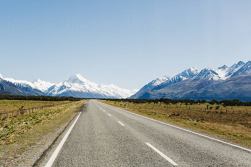 road leading to Mount Cook, New Zealand by Cameron Zegers for Stocksy United