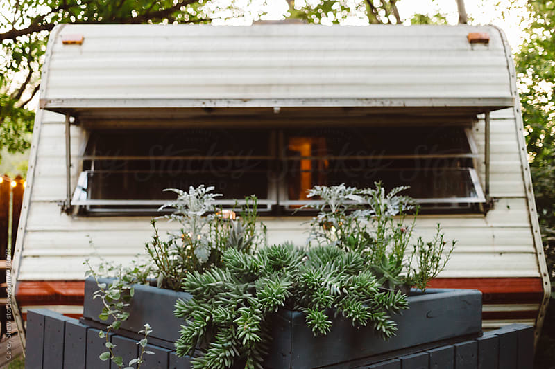 Vintage camper and plants by Carey Shaw for Stocksy United