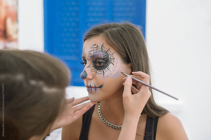 The Making of Sugar Skull Mask for Halloween Party by Aleksandra Jankovic for Stocksy United