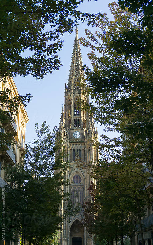 Cathedral seen from a boulevard by ACALU Studio for Stocksy United