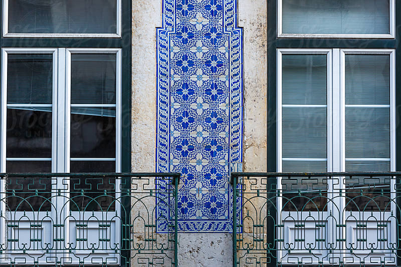 Typical Portuguese tile wall and balcony window detail by Amanda Large for Stocksy United