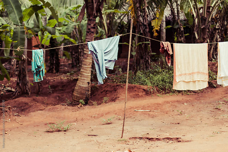 A washing line in tropical Kerala, India by Maresa Smith for Stocksy United