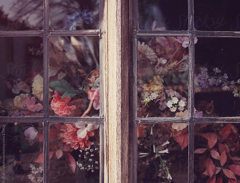 View of a beautiful bouquet of flowers through an old window in a small English village.  by Kaat Zoetekouw for Stocksy United