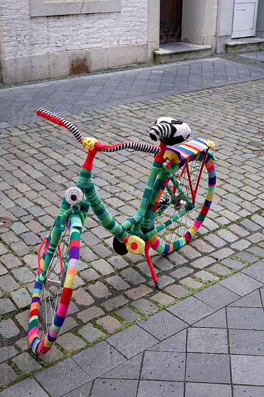 yarn bombing on a bicycle by Marcel for Stocksy United