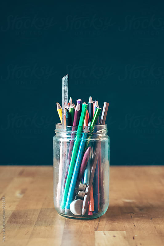 Pencil on a jar by Vera Lair for Stocksy United