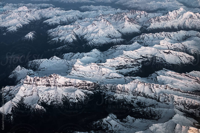 Aerial view of the French Alps by Gabriel Ozon for Stocksy United