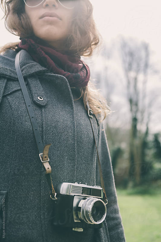 Young woman with vintage camera by kkgas for Stocksy United