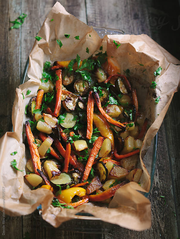 Roasted Mixed vegetables by Davide Illini for Stocksy United