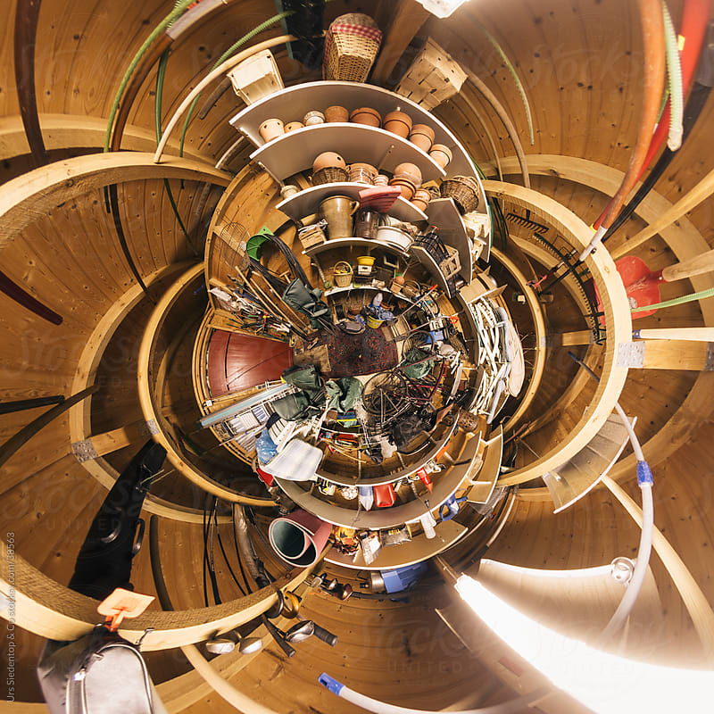 Little planet spherical panorama of shed with gardening equipment by Urs Siedentop & Co for Stocksy United