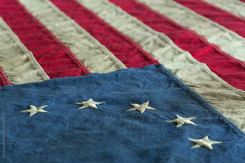 Detail of old dingy Betsy Ross Flag  by David Smart for Stocksy United