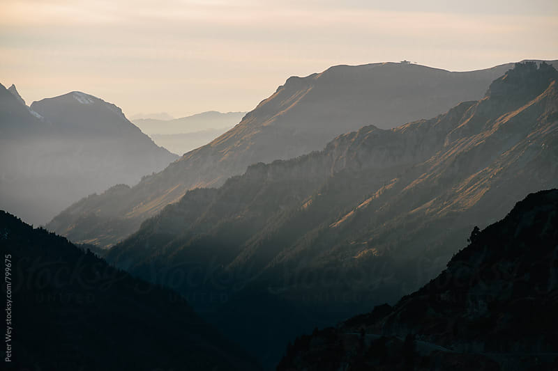 Sunset view from Sustenpass by Peter Wey for Stocksy United