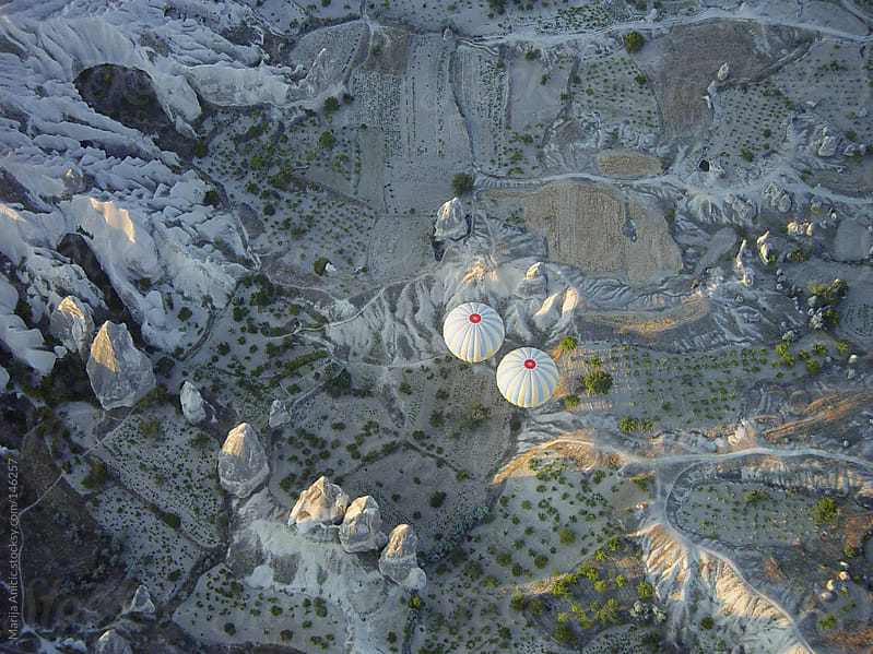 Aerial view of Cappadocia with two gallons by Marija Anicic for Stocksy United