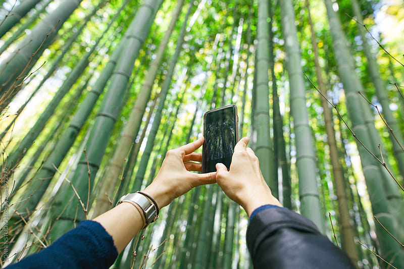 Woman taking a photo with her phone of the bamboo forest. by BONNINSTUDIO for Stocksy United