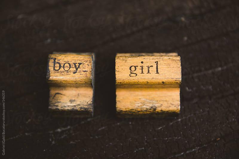 Boy and Girl Rubber Stamps by Gabriel (Gabi) Bucataru for Stocksy United