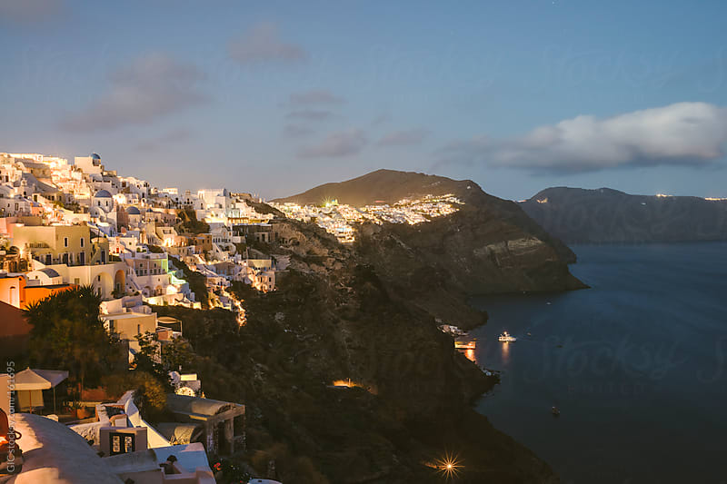 Village in Santorini at twilight by GIC for Stocksy United
