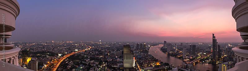 bangkok sunset panorama by Leander Nardin for Stocksy United
