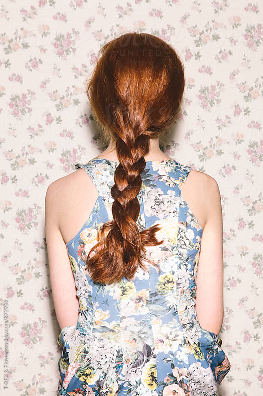 Back view of red-headed woman with braid by T-REX & Flower for Stocksy United