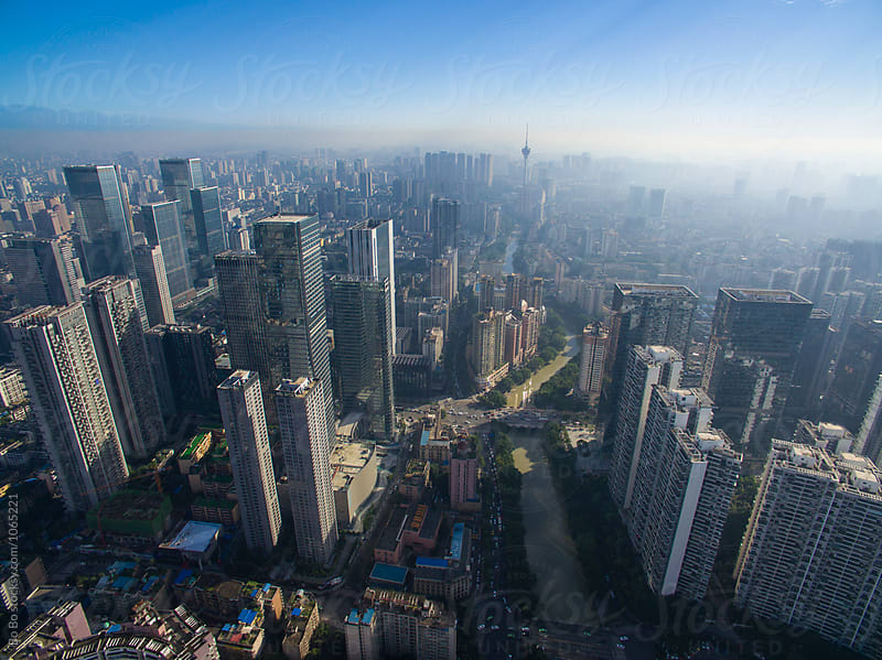 aerial view of Chengdu city in the morning by Bo Bo for Stocksy United