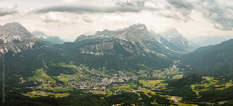 Cortina d'Ampezzo Town in Italian Dolomite Mountains by Giorgio Magini for Stocksy United