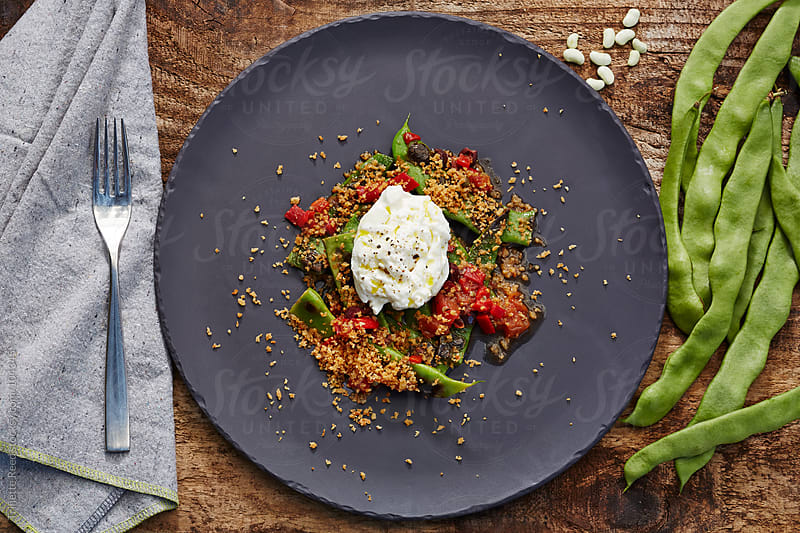 Romano Bean salad with fresh burrata mozzarella cheese by Trinette Reed for Stocksy United