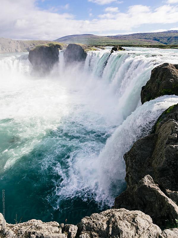 Godafoss waterfall in iceland by Juri Pozzi for Stocksy United