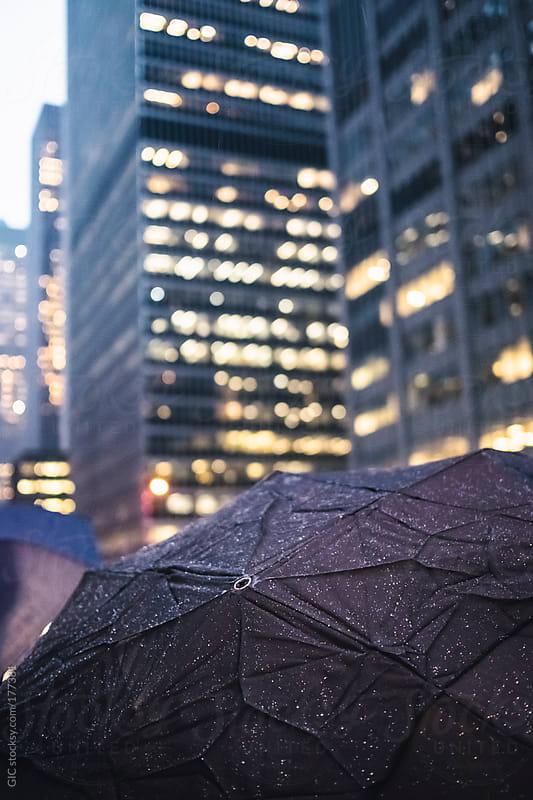 Umbrella in the rain in Manhattan - New York City by GIC for Stocksy United