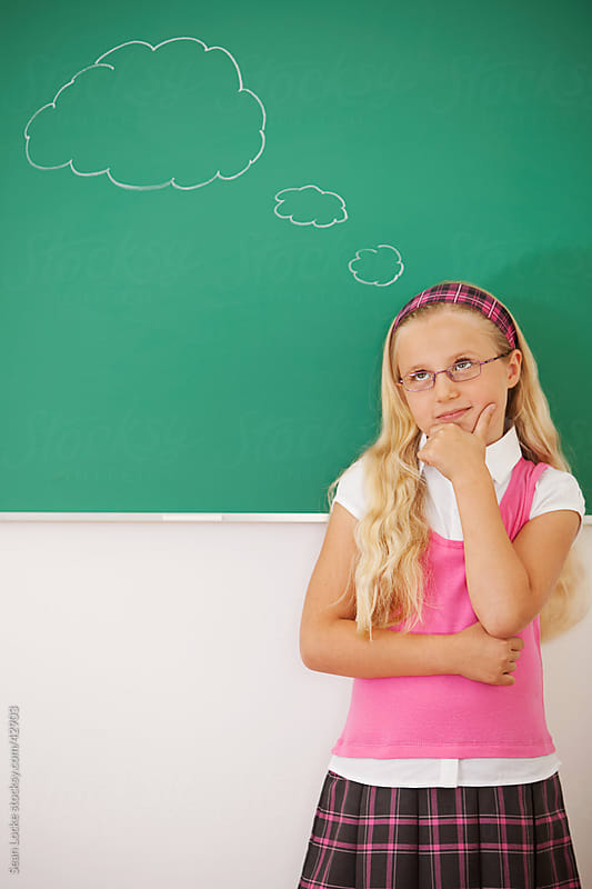 Classroom: Cute Girl Thinking of Something by Sean Locke for Stocksy United