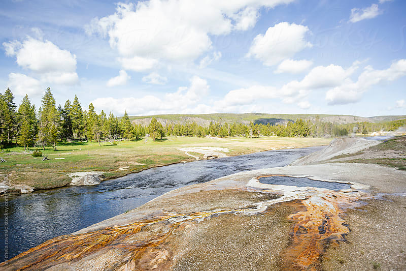 Landscape with river and hot spring in Yellowstone National Park by michela ravasio for Stocksy United